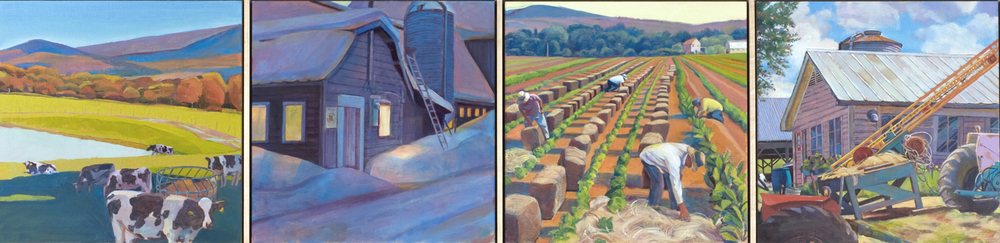 """Farm Element"", 12"" x 48"" (4 panels), oil on linen panel"