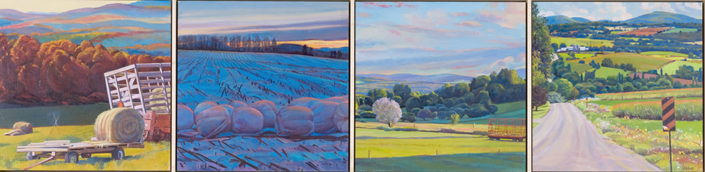 """Field Element"", 12"" x 48"" (4 panels), oil on linen panel"
