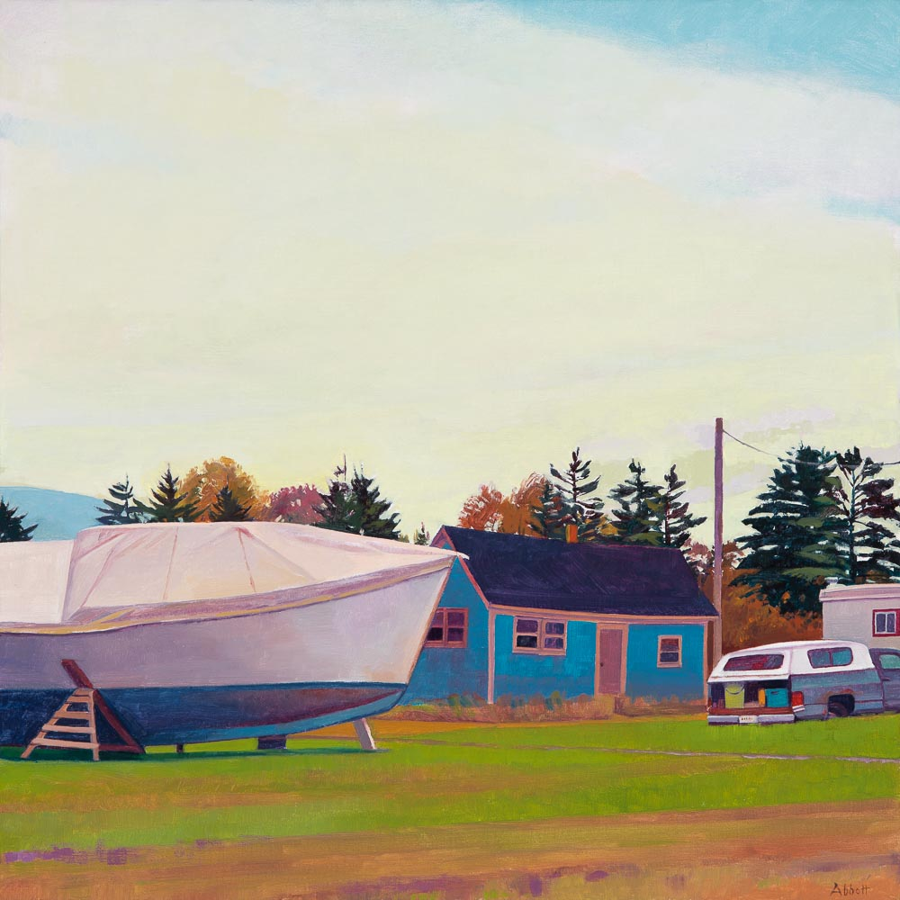 """Boat, House, Truck, Trailer"", 20"" x 20"", oil on linen panel"