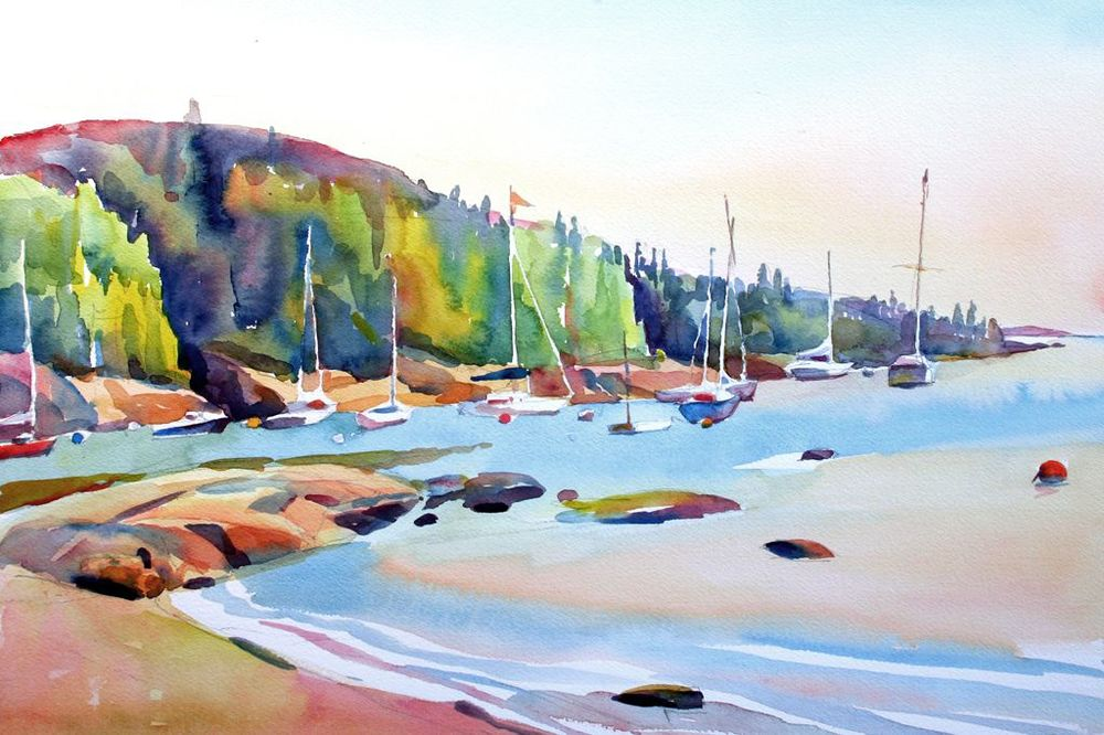 """Seal Cove, Maine', 14"" x 20"", watercolor"