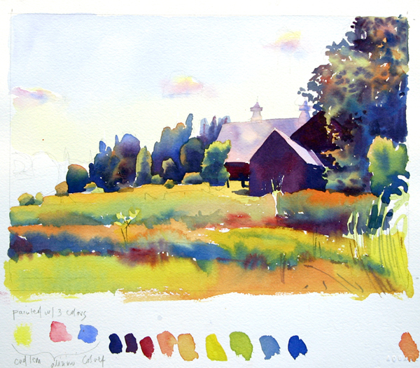 Susan Abbott, watercolor study with limited primary palette of Cadmium Lemon, Alizarin Crimson, and Cobalt Blue