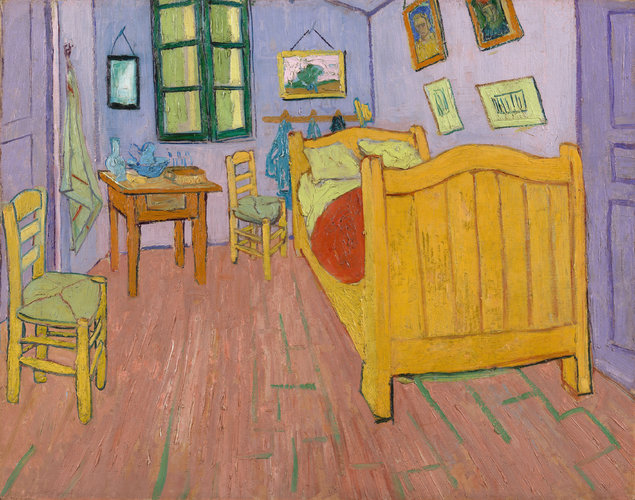 """Vincent's Bedroom at Arles"", digital interpretation with cool red pigments included"