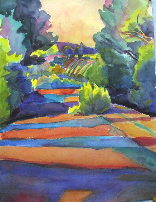 "Abbott, ""Looking towards Vineyards, Provence"", watercolor"