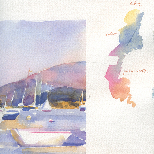 A Maine seascape painted with Yellow Ochre, Cobalt Blue, and Permanent Rose watercolors
