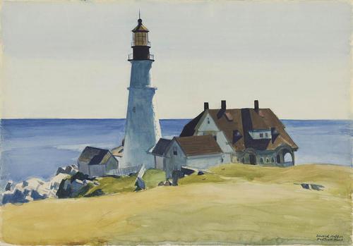 "Edward Hopper, ""Light House and Building, Portland"", watercolor"