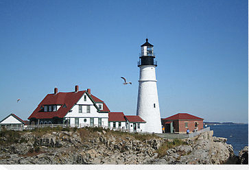 Lighthouse and seagull, two typical Maine photo and painting subjects.