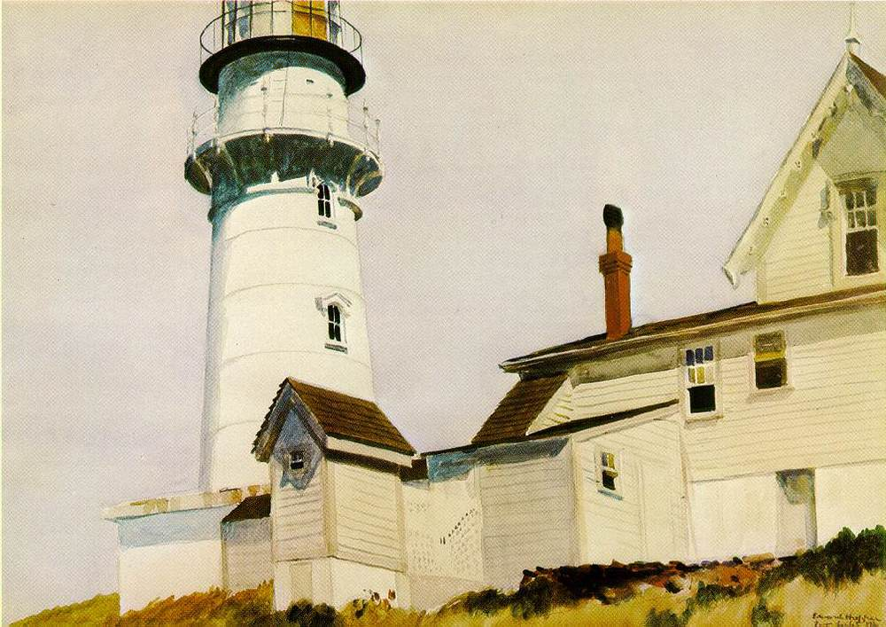 "Edward Hopper, ""Light at Two Lights"", watercolor"