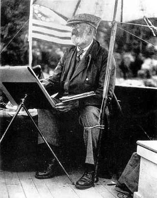 John Singer Sargent--note the tie-down around leg and umbrella.