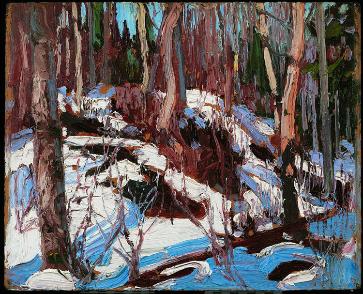 """Winter Thaw in the Woods"", 8"" x 10"", oil on wood panel"
