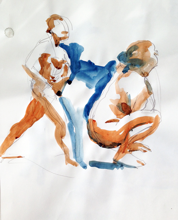 "Gesture studies, 24"" x 18"", watercolor on newsprint paper"