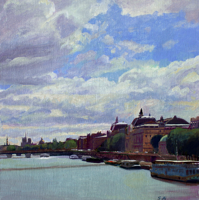 """Seine towards Musee D'Orsay"", 12"" x 12"", oil on linen."