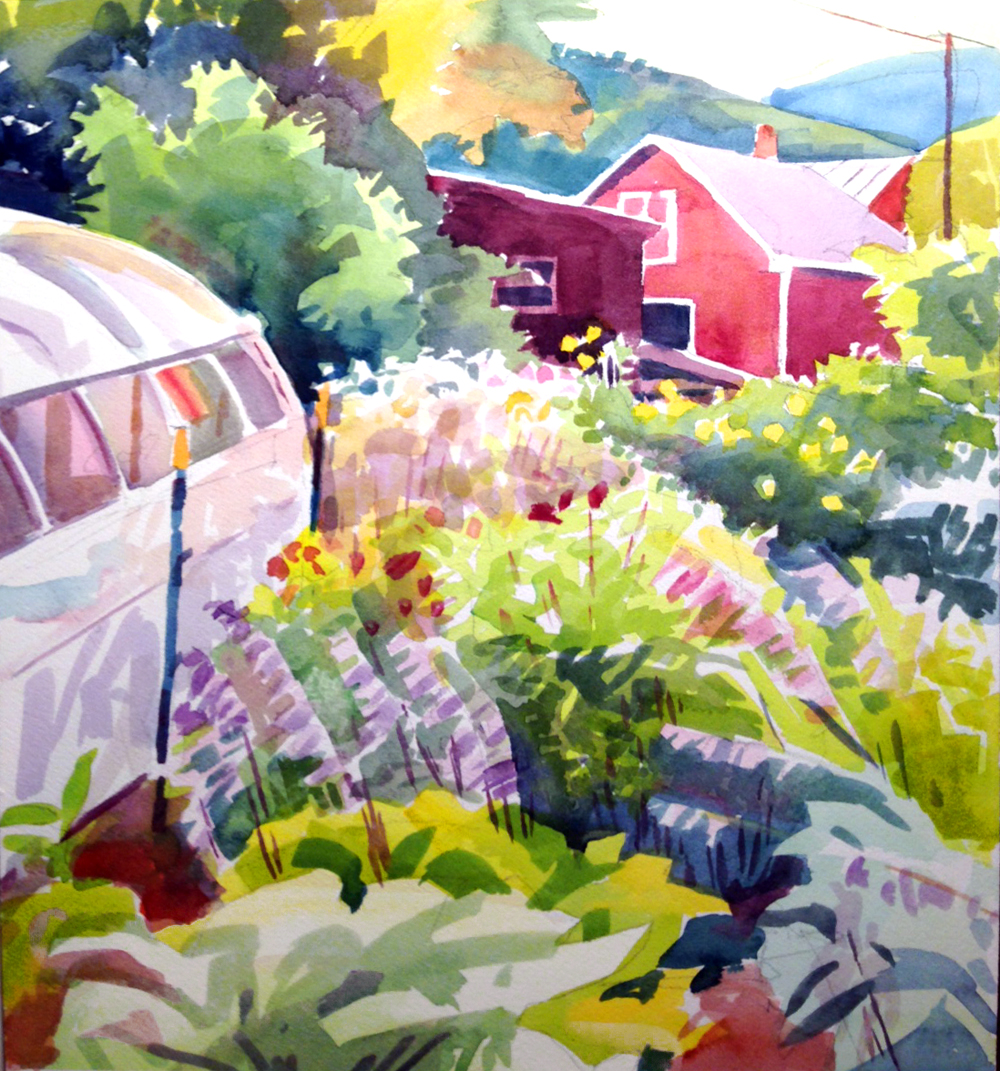 """""""Amanda's Green House"""", 15"""" x 12"""", watercolor on Arches paper"""