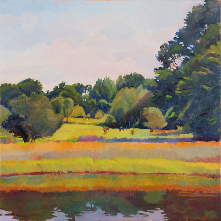"""Pond and Meadow, Late Morning"", 28"" x 28"", oil on linen"