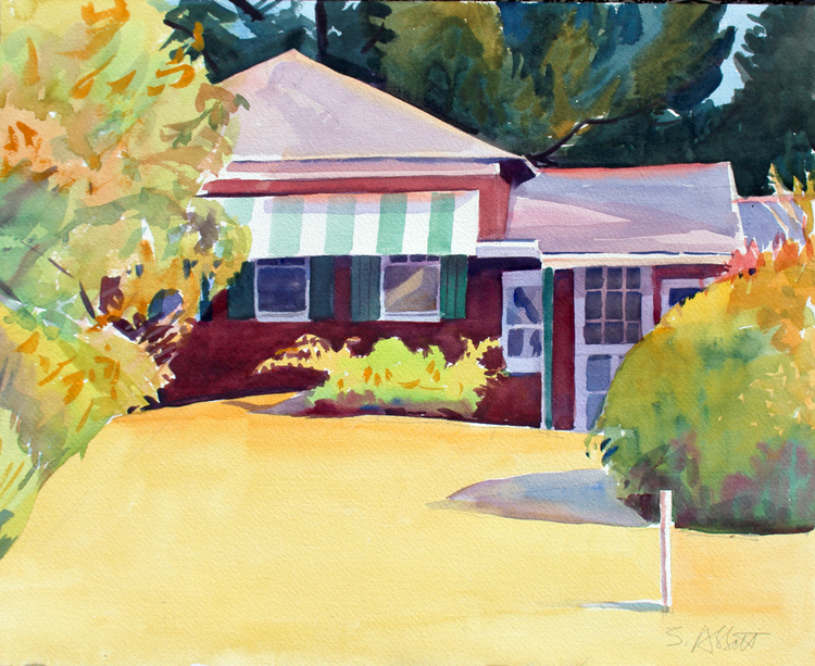 """Two Blocks from the Beach"", 15"" x 17"", watercolor"