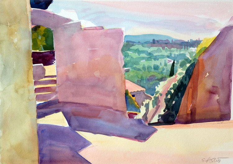 """Walls at Bonnieux"" 14"" x 20"", watercolor"