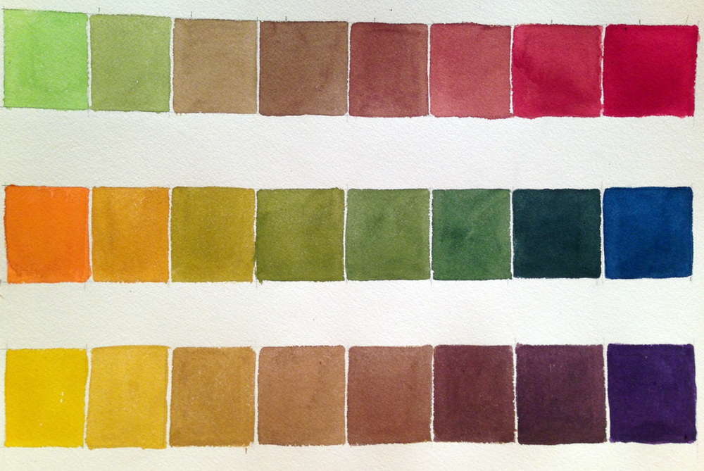 Watercolor swatches of complements--top row is green to red, middle row is orange to blue, bottom is yellow to violet