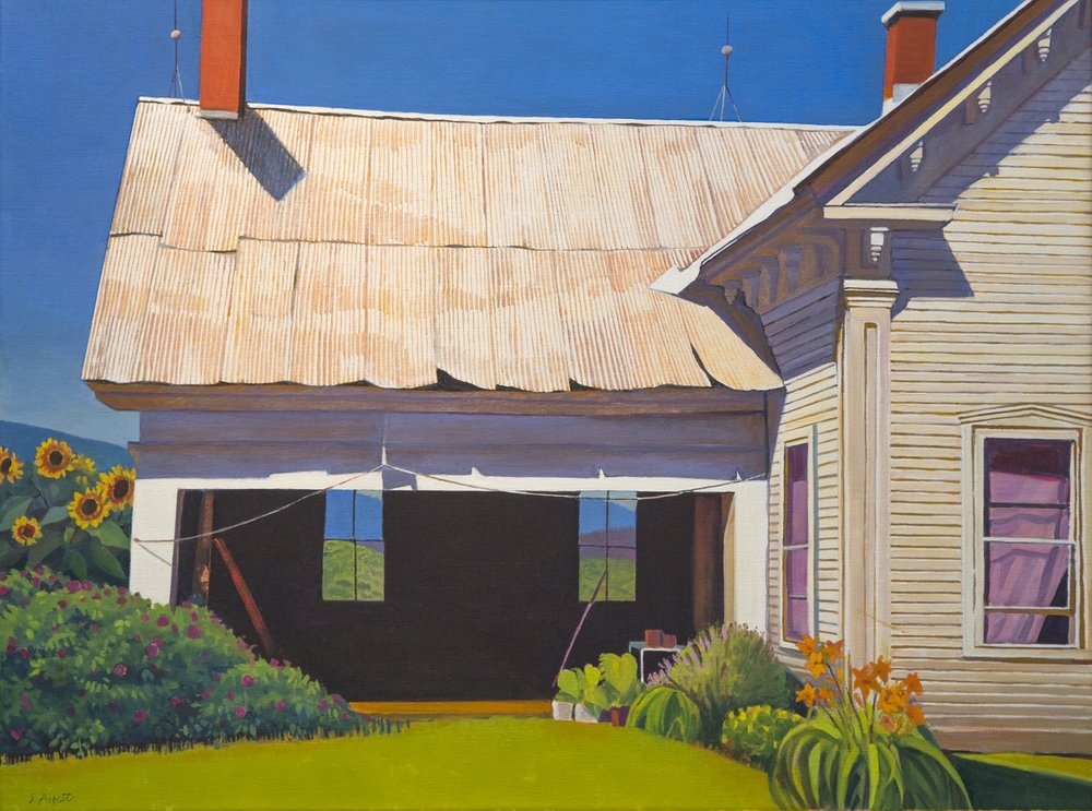 """Farmhouse and Shed"", 24"" x 32"", oil on linen"