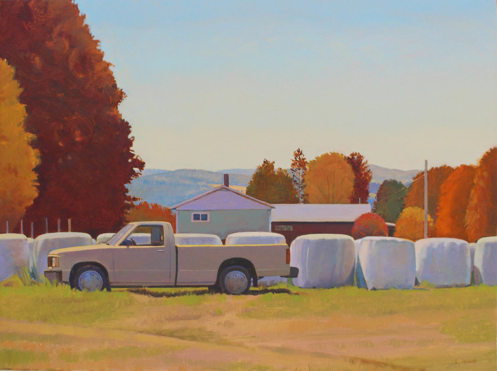 """Truck and Hay Bales, Autumn"", 24"" x 32"""
