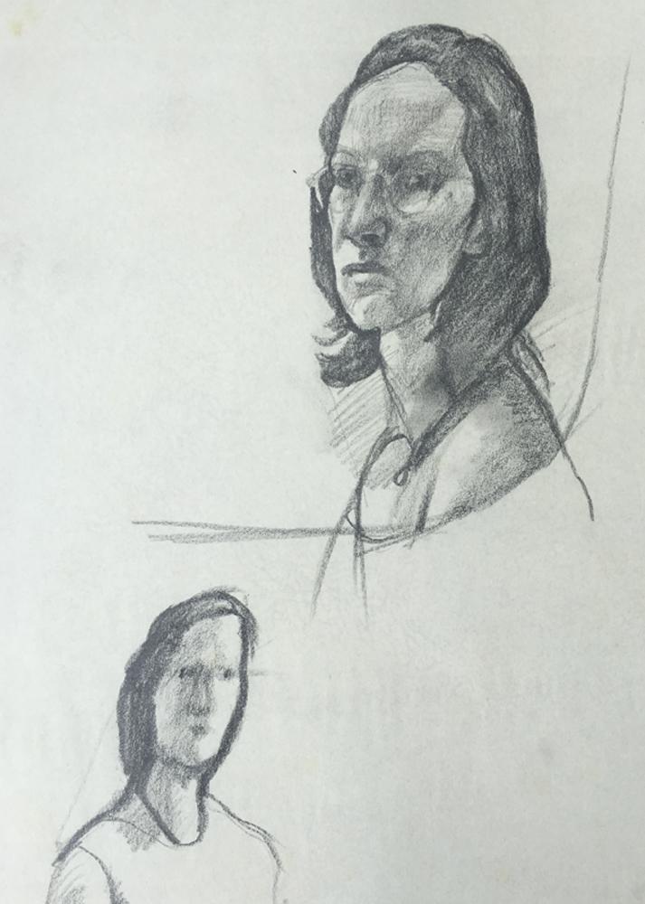 "Susan Abbott ""Self Portrait"", sketchbook, 1971"