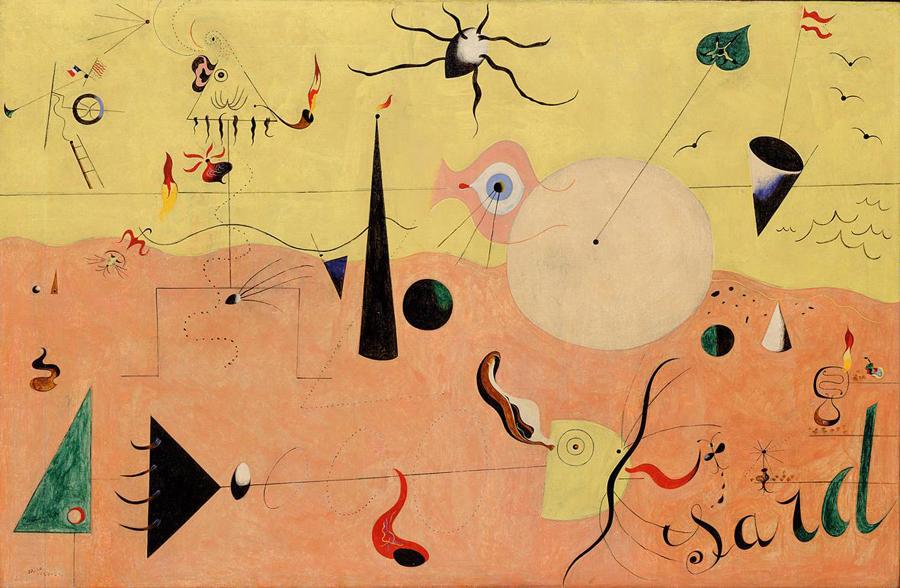 "Joan Miro, ""Catalan Landscape (the Hunter)"", oil on canvas"