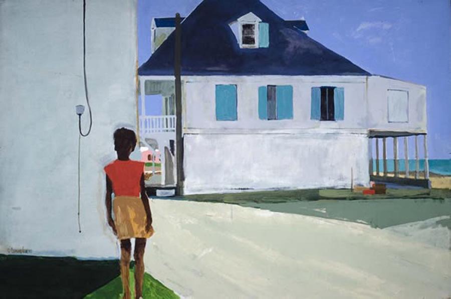 "Robert Cunningham, ""Girl in the Bahamas"", Gouache on paper"