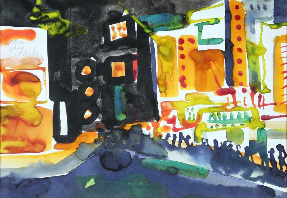 "Romare Bearden, ""Times Square Evening"", watercolor"