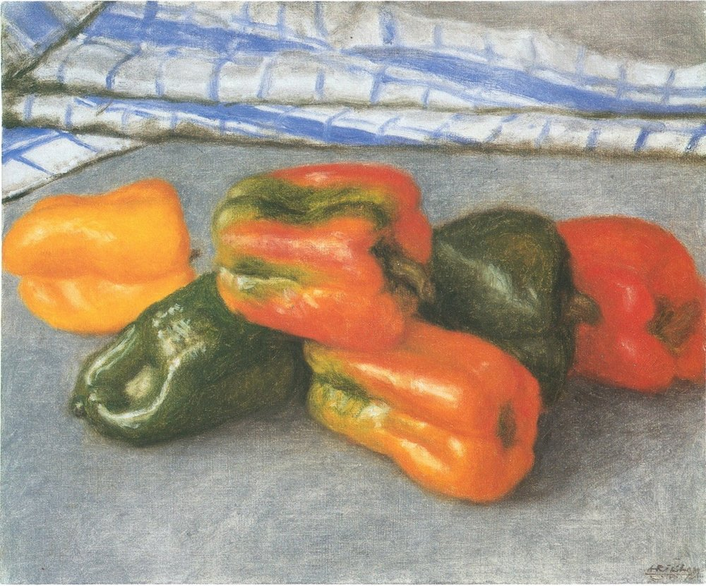 "Avigdor Arikha, ""Peppers and Dish Cloth"""