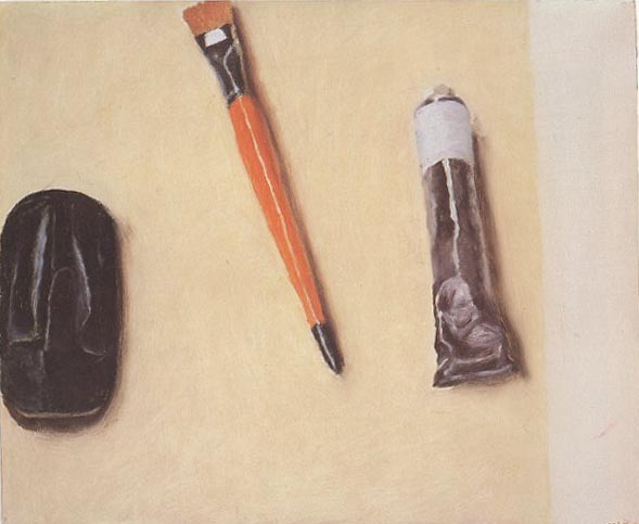 "Avigdor Arikha, ""Eyeglass Case, Brush and Paint"""