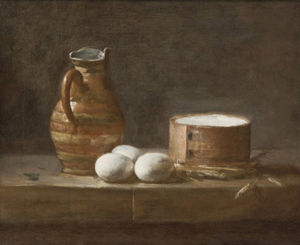 "Jean-Baptiste-Siméon Chardin, ""Still Life with Jug, Eggs and Cheese"", oil"