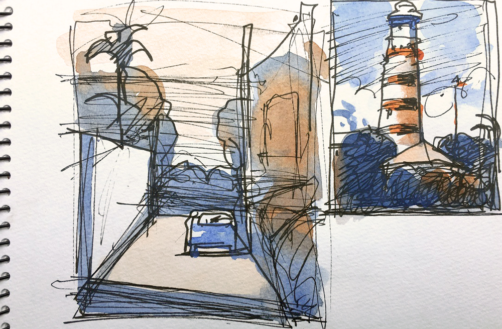 "Susan Abbott, ""Sketchbook, Bahamas"", pen and watercolor"