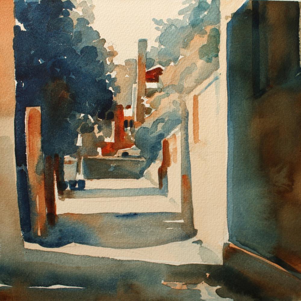 "Susan Abbott, ""Alexandria Alley"", watercolor"
