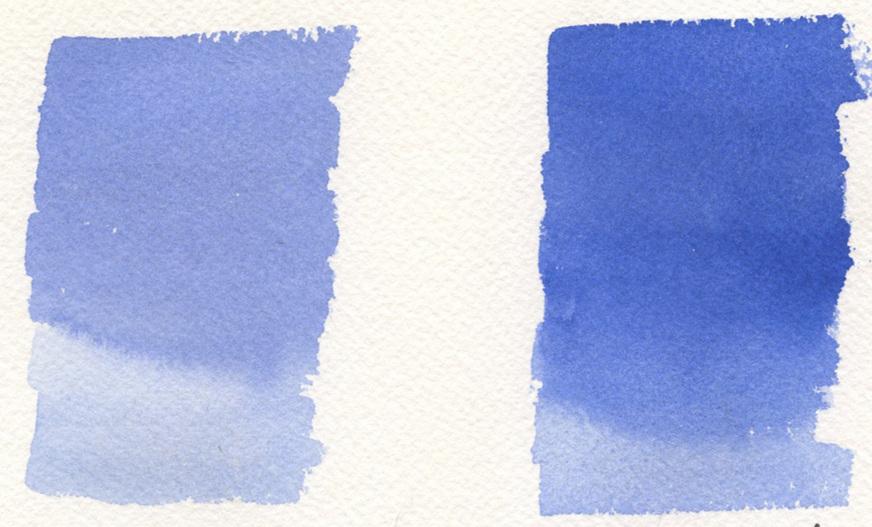 Schmincke Cobalt Blue Light watercolor (left) and Winsor Newton Ultramarine Blue watercolor (right)