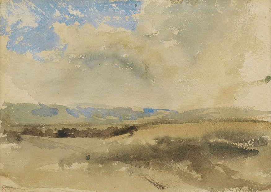 "Eugene Delacroix, ""Landscape Sketch"", watercolor"