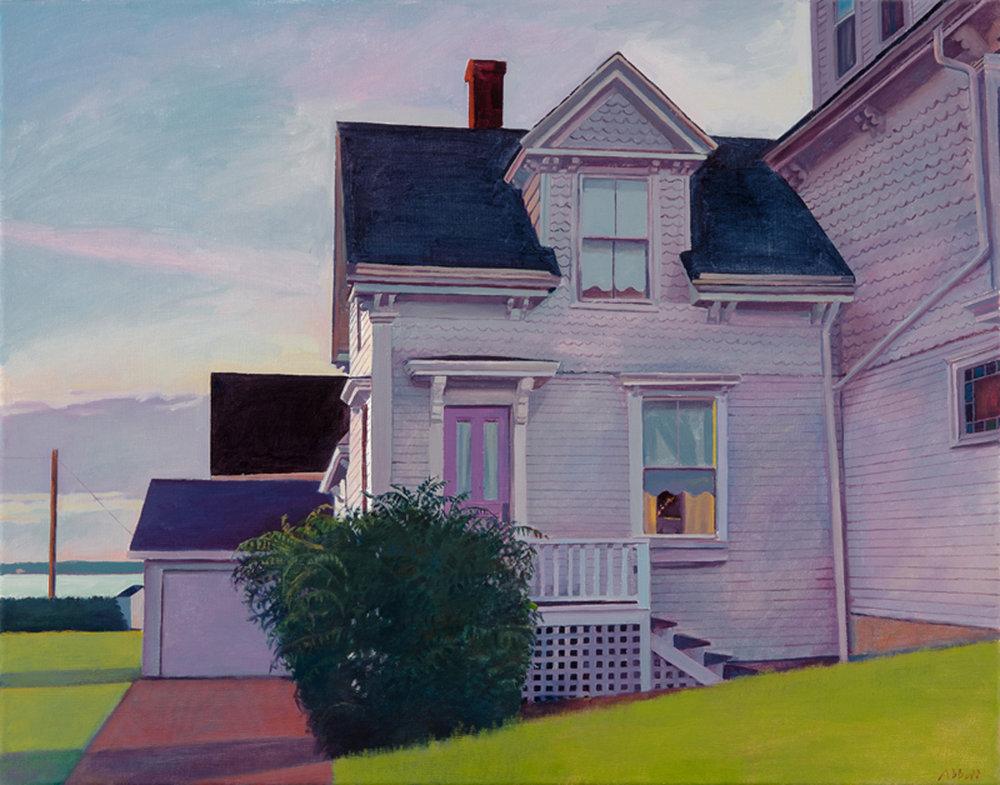 """Susan Abbott, """"The Captain's House, Dusk"""", oil on linen"""