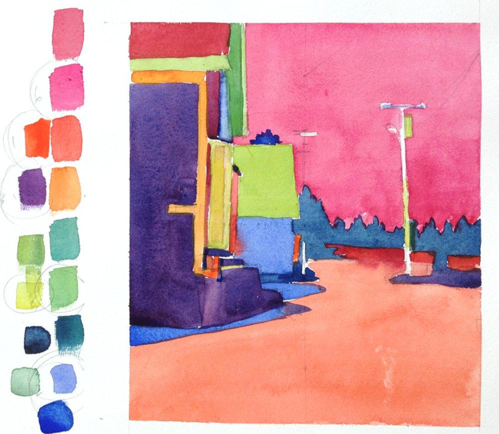 "Mimi Robinson, ""Color Value Study"", watercolor"