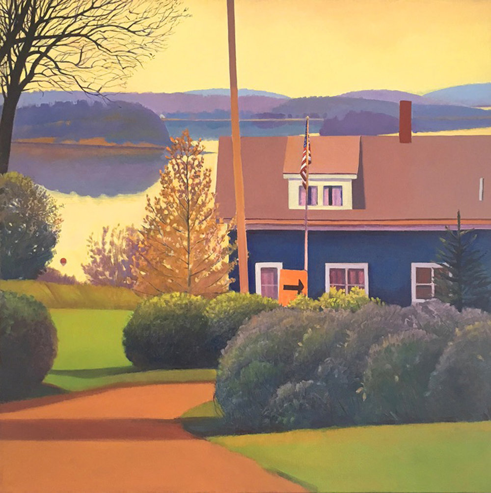 "Susan Abbott, ""Blue House by the Inlet"", oil on linen"