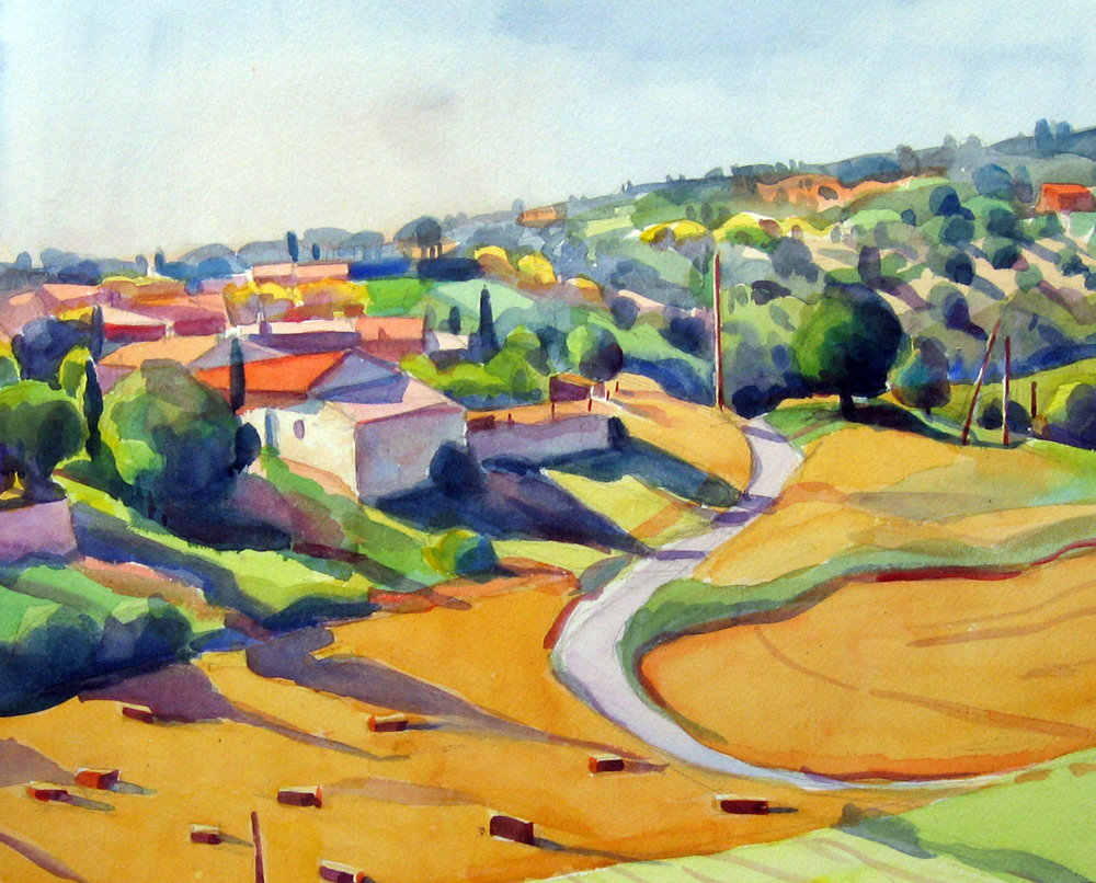 """""""Farmhouse and Fields, Provence"""", watercolor, 11"""" x 13"""", framed in gold 18"""" x 20"""", $300.00. Purchase  here ."""