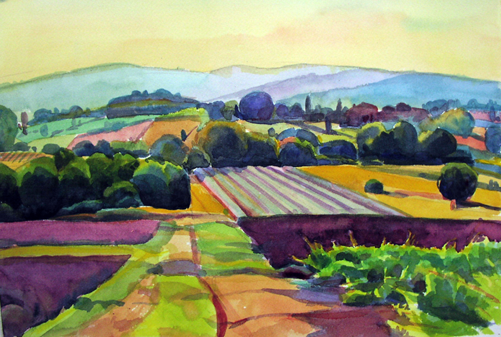 """""""Fields at Dusk, Provence"""", watercolor, 12"""" x 16"""", framed in gold 18"""" x 22"""", $325.00. Purchase  here .  SOLD"""