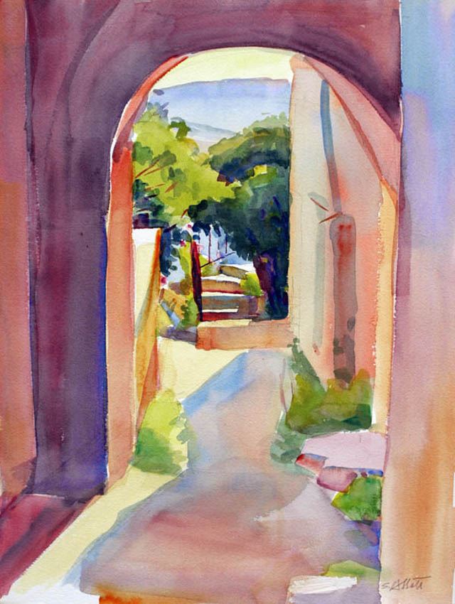 """""""Looking Through to the Mountain"""", watercolor, 16"""" x 11"""", framed in gold 24"""" x 19"""", $400.00. Purchase  here .  SOLD"""