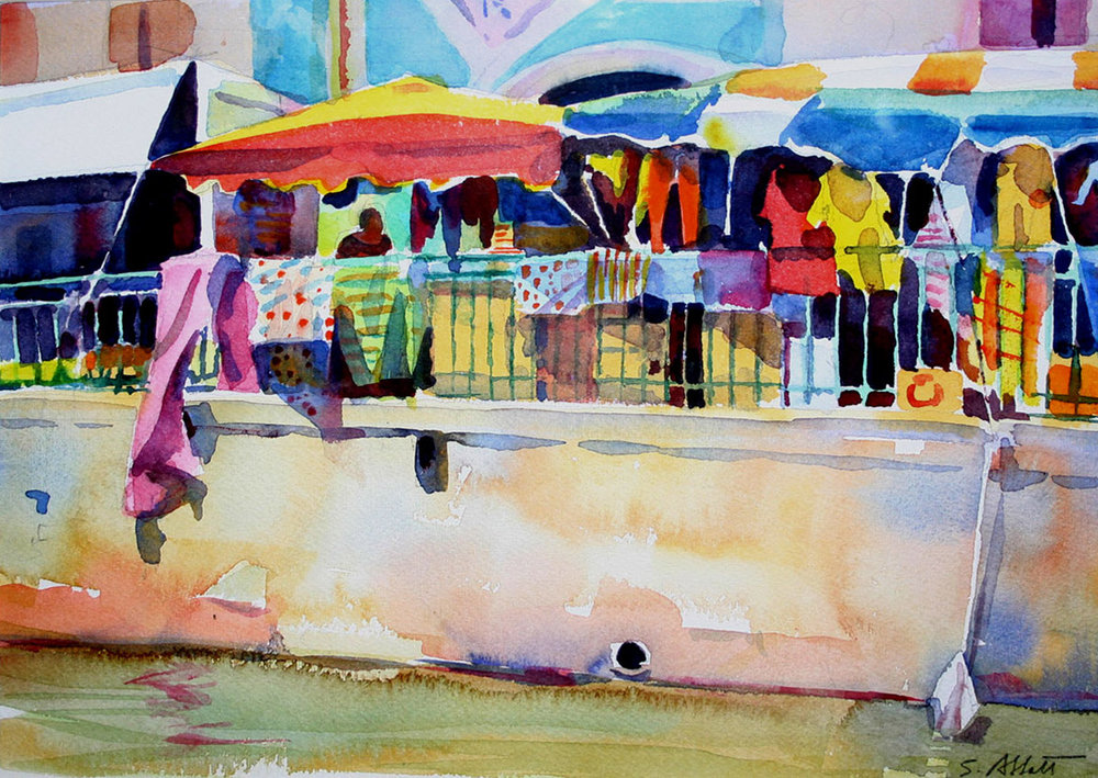 """""""Market Stall, Provence"""", watercolor, 9"""" x 12"""", framed in maple 17"""" x 19, $250.00. Purchase  here ."""