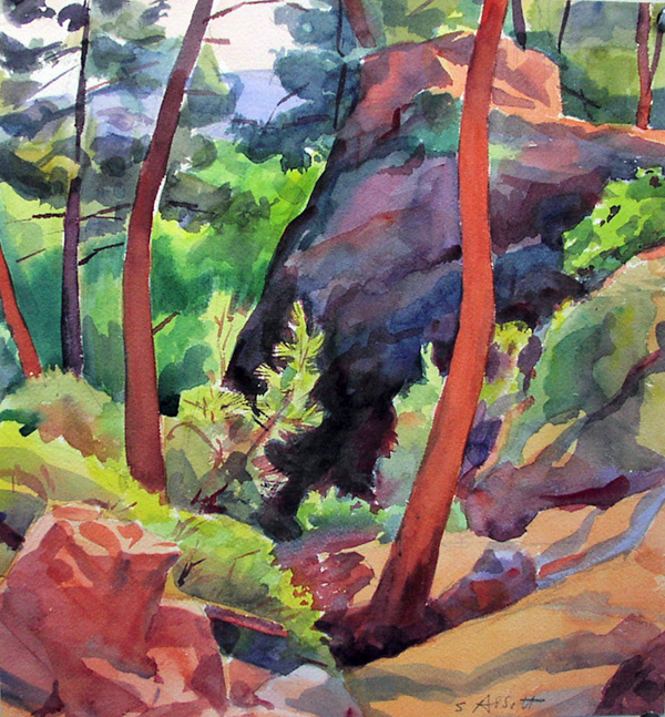 """""""Ochre Quarry, Provence"""", watercolor, 15"""" x 12"""", framed in maple, 22"""" x 20"""", $350.00. Purchase  here .  SOLD"""