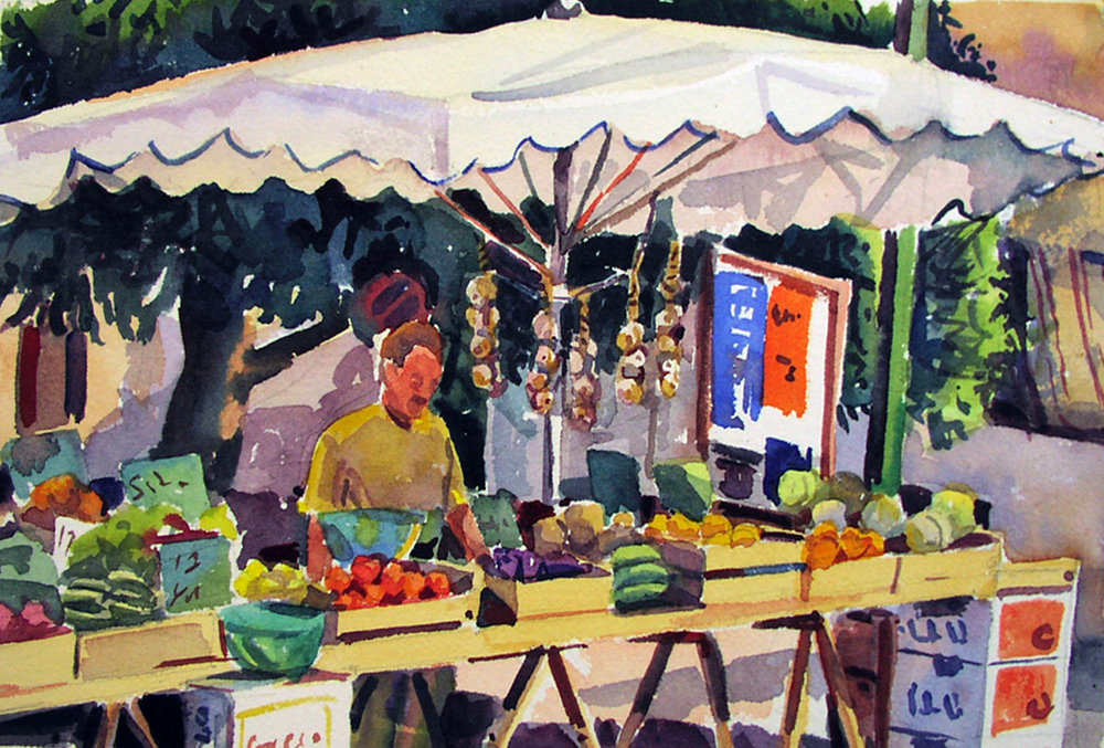 """""""Market Stall, Provence"""", watercolor, 8"""" x 10, framed in maple 18"""" x 21"""", $250.00. Purchase  here .  SOLD"""