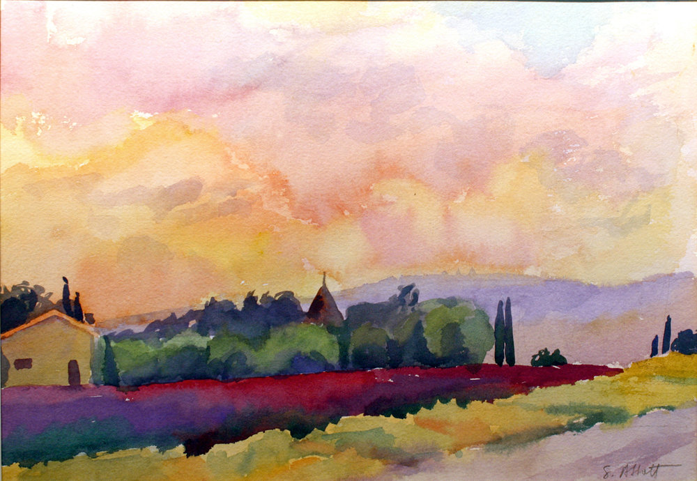 """""""Mill and Lavender at Sunset, Provence"""", watercolor, 10"""" x 13"""", frame in gold 19"""" x 22"""", $300.00.  SOLD"""