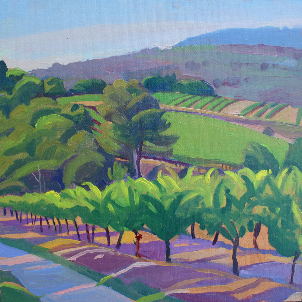 """""""Path through Vineyards, Provence"""", oil on linen panel, 10"""" x 10"""", framed in gold 13"""" x 13"""", $300.00. Purchase  here .  SOLD"""