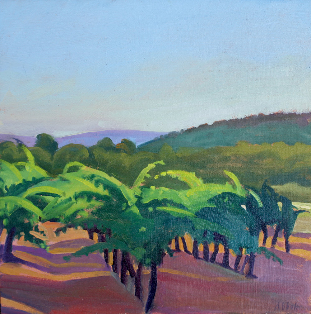 """Vineyard in Late Afternoon, Provence"""", oil on linen panel, 10"""" x 10"""", framed in gold 13"""" x 13"""", $300.00. Purchase  here .  SOLD"""