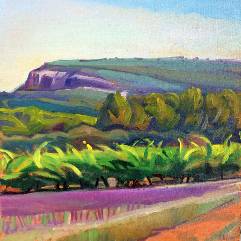 """""""Vineyard and Cliff, Provence"""", oil on linen panel, 10"""" x 10"""", framed in gold 13"""" x 13"""", $300.00. Purchase  here.   SOLD"""