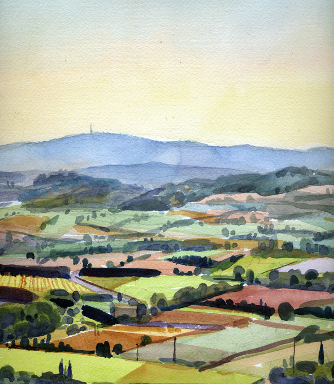 """""""Provence Vista"""", watercolor, 15"""" x 11"""", framed in gold, 18"""" x 16"""", $275.00. Purchase  here .  SOLD"""