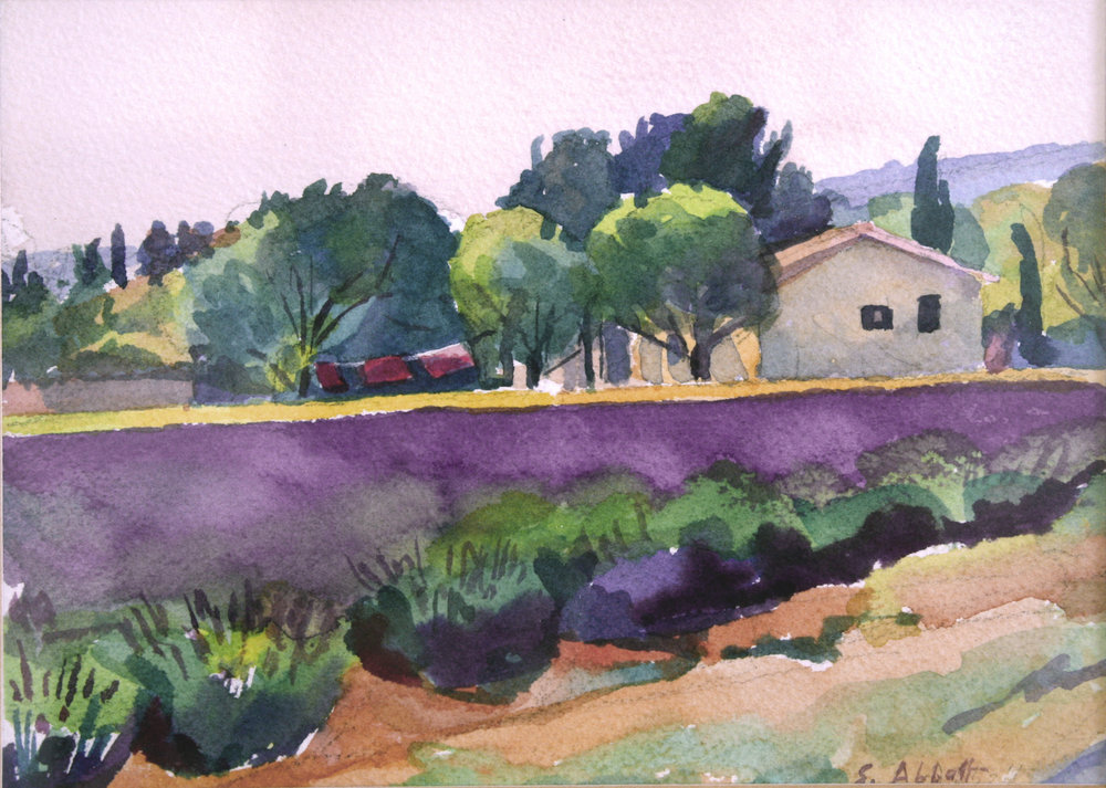"""""""Laundry and Lavender"""", watercolor, 8"""" x 10"""", framed in gold 14"""" x 17, 225.00. Purchase  here .  SOLD"""