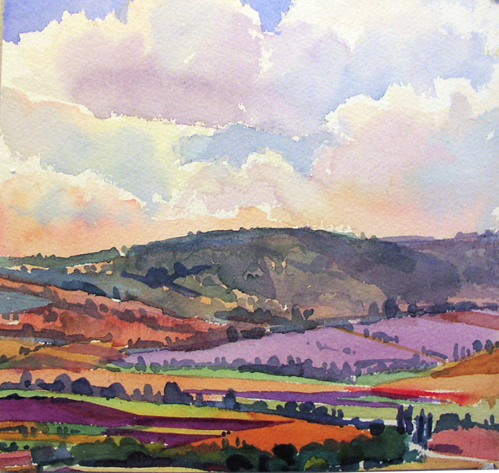 """""""Clouds Over Lavender"""", watercolor, 10"""" x 10"""", framed in maple 20"""" x 20"""". Purchase  here ."""