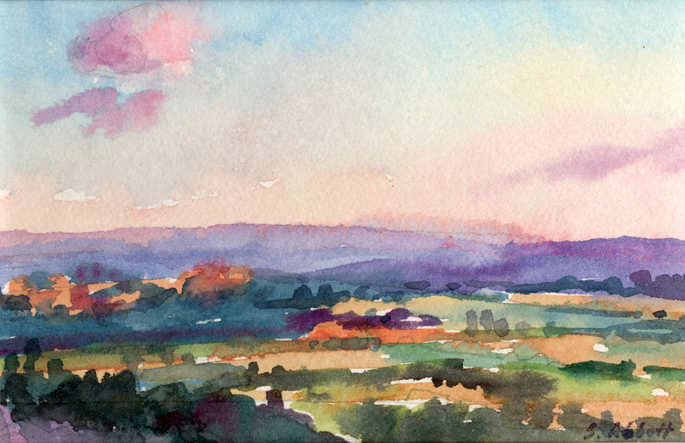 """""""Dusk from Les Bassacs"""", watercolor, 8"""" x 10"""""""", framed in gold. Purchase  here ."""